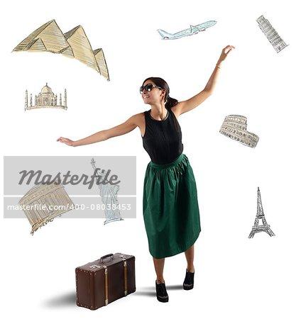 Dreamy elegant tourist chooses her next destination