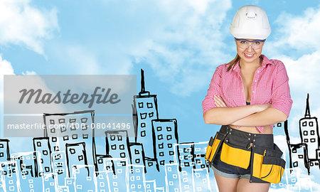 Woman in tool belt and helmet, crossed arms. Sketch buildings as backdrop