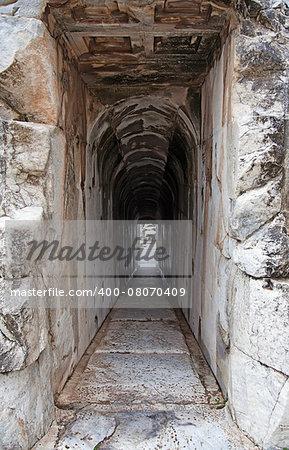 Narrow corridor in an ancient greek building