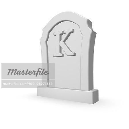 gravestone with uppercase letter k on white background - 3d illustration