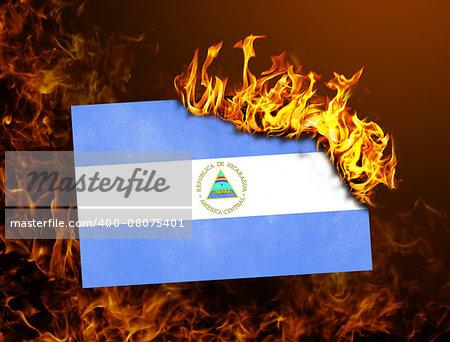 Flag burning - concept of war or crisis - Nicaragua