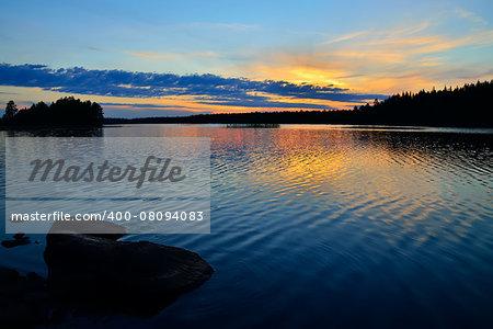 Charm of the Northern sunset. Engozero, North Karelia, Russia