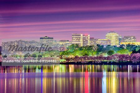 Washington, DC at the Tidal Basin with the Arlington skyline.