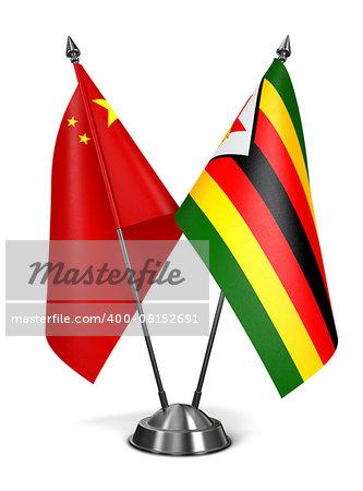 China and Zimbabwe - Miniature Flags Isolated on White Background.