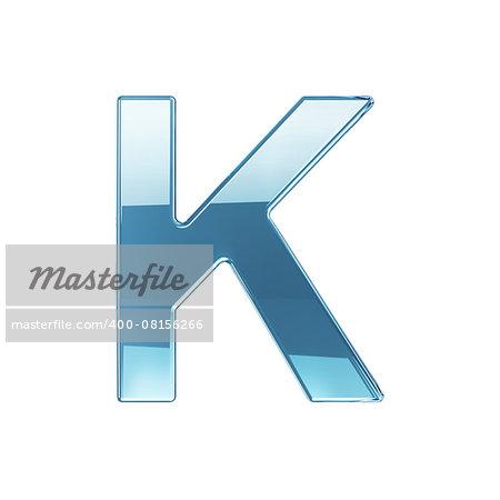 3d render of glass glossy transparent alphabet letter symbol - K. Isolated on white background