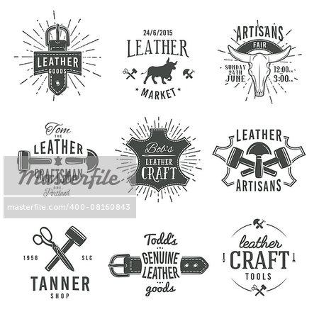 Second set of grey vector vintage craftsman logo designs, retro genuine leather tool labels. artisan craft market insignia illustration.