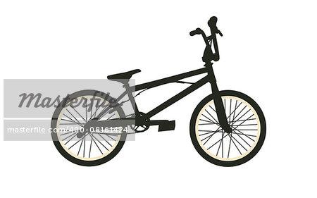 BMX Bike. Black Silhouette on White Background. Isolated Vector Illustration