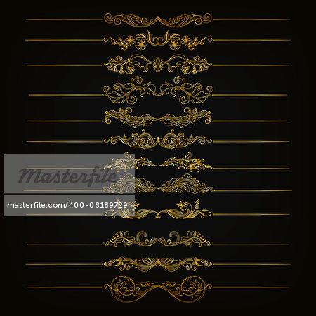 Set of vector golden floral filigree dividers. Floral decorative elements, borders for page, web site decoration. Vector illustration EPS 10.
