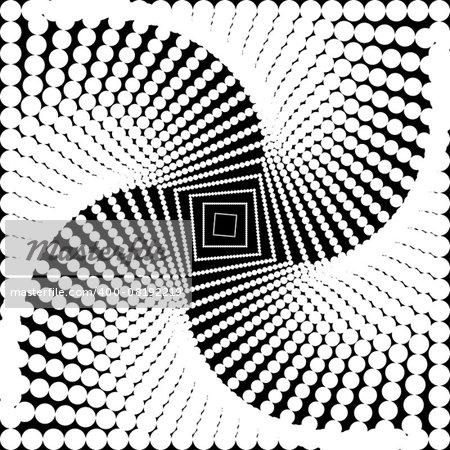 Design monochrome twirl movement illusion background. Abstract dotted torsion backdrop. Vector-art illustration. No gradient