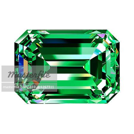 Green Emerald. 3D Model Over White Background.