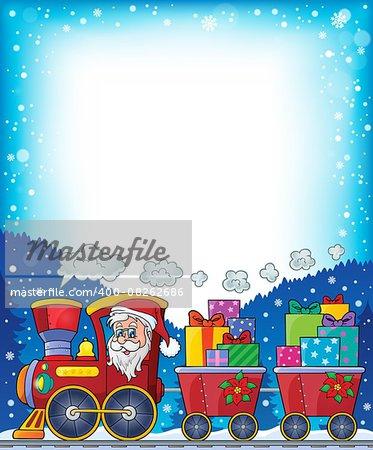 Frame with Christmas train theme 2 - eps10 vector illustration.