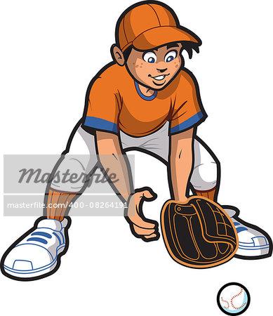 Young Man Baseball Softball Outfielder Catching a Ground Ball
