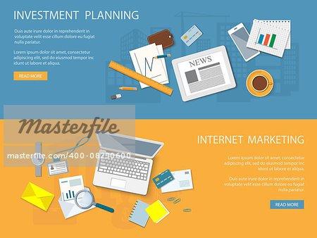 Flat design modern vector illustration concept of business planning and internet marketing - eps10