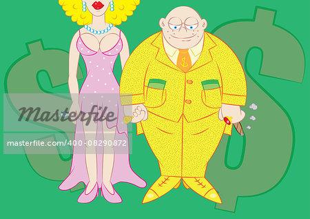wealthy rich man vector illustration