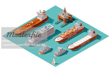 Isometric icons representing nautical transport