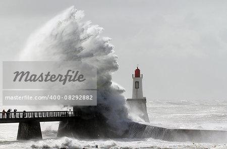 Storm on a lighthouse (Les Sables d'Olonne – France)