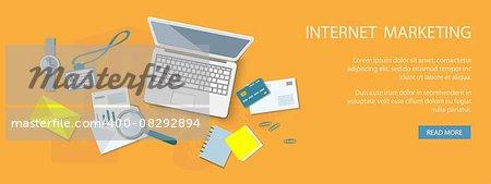 Flat design modern vector illustration concept of internet marketing - eps10