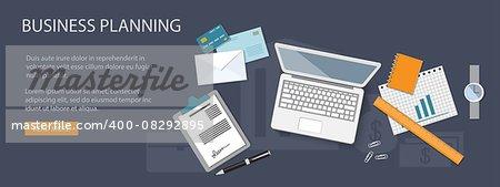 Flat design modern vector illustration concept of business planning  - eps10