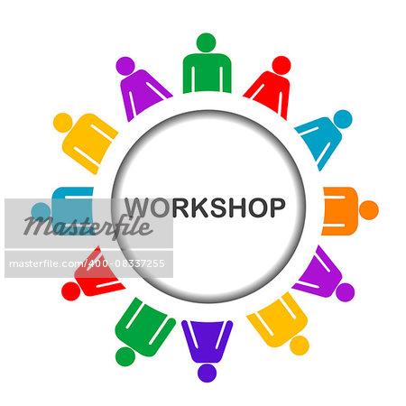 Illustration of workshop icon isolated over white background