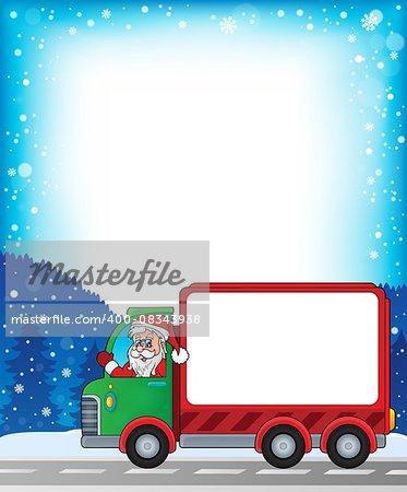 Frame with Christmas van theme 2 - eps10 vector illustration.