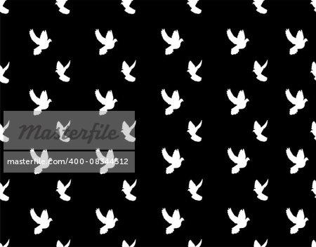 vector illustration of seamless flying doves background
