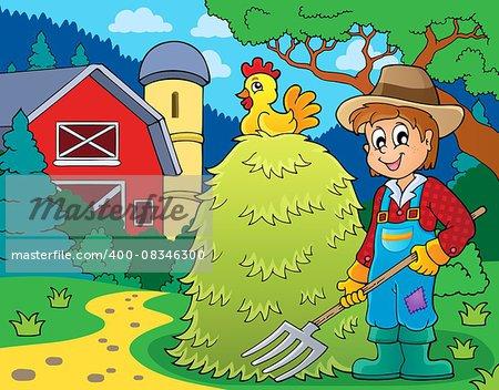 Farmer topic image 1 - eps10 vector illustration.