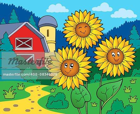 Sunflowers near farm - eps10 vector illustration.