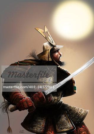 a very armored samurai with a katana on his hand