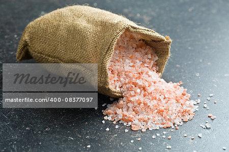 Himalayan salt in jute bag