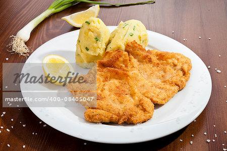 Vienna schnitzel with potato mash potatoes