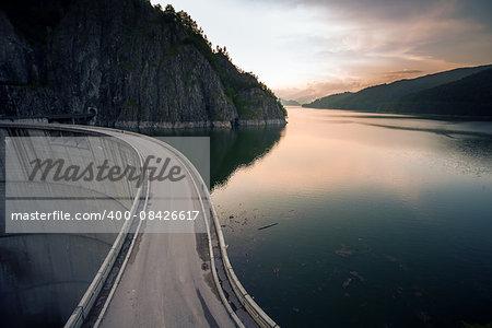 Artificial Lake behind the Bicaz Dam at sunset, Romania