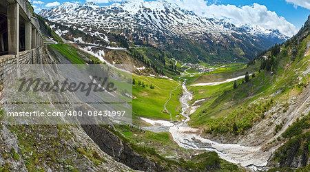 Summer mountain panorama from Holzbodentunnel road (Warth, Vorarlberg, Austria).