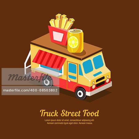 Mobile food Van, Food Truck vector illustration
