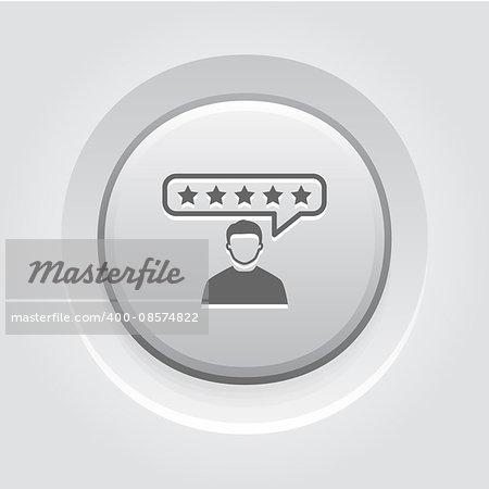Customer Reviews Icon. Business Concept. Grey Button Design