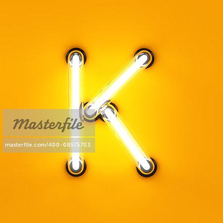 Neon light alphabet character K font. Neon tube letters glow effect on orange background. 3d rendering
