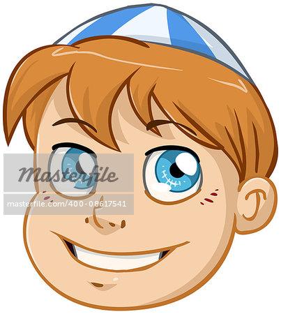 Vector illustration of a Jewish boy's head with kippah.