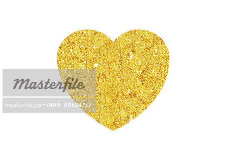 Golden heart sparkles on white background. Gold glitter vector design for Valentine Day celebration event