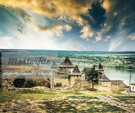 scenic view on Ukrainian Khotyn Fortress at sunset