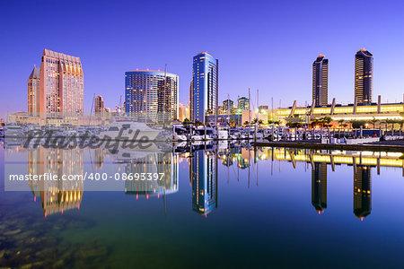 San Diego, California, USA skyline at the Embarcadero Marina.