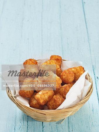 close up of rustic golden potato tater tots
