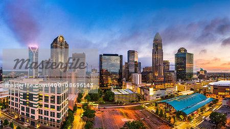 Charlotte, North Carolina, USA uptown skyline panorama.