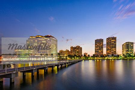 West Palm Beach, Florida, USA skyline on the Intracoastal Waterway.
