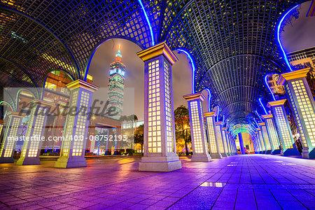 Taipei, Taiwan nighttime cityscape.