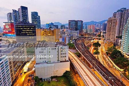 Hong Kong downtown , kwun tong District  at night