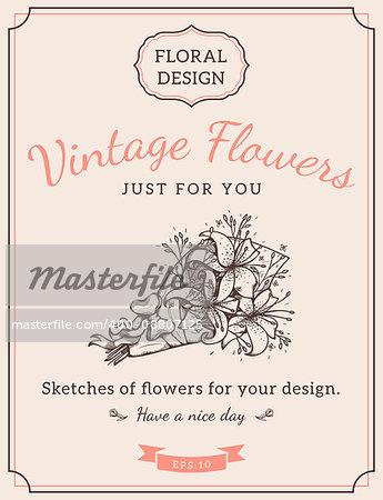 Design for vintage card or invitation. Vector template.