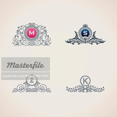 Calligraphic flourishes luxury monogram set. Line frame template logo for emblem. Patterns for design calligraphic menu, restaurant cafe, invitations, cards. Vintage vector line symbols M, S, Z, K