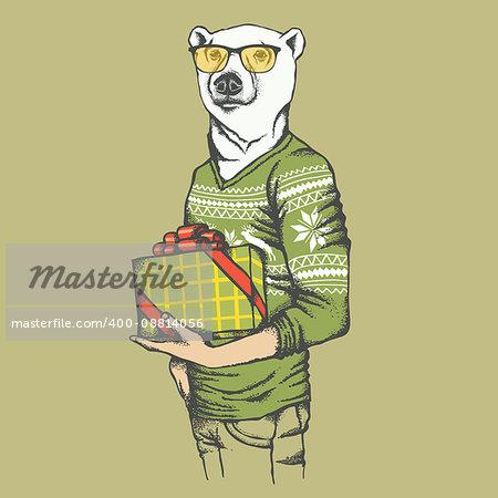 White polar bear vector illustration. White polar bear in human sweatshirt with gift
