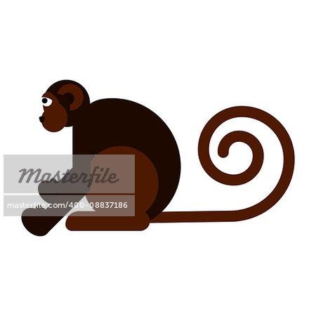 Monkey flat style vector illustration isolated on white.