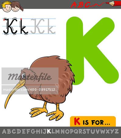 Educational Cartoon Illustration of Letter K from Alphabet with Kiwi Bird for Children