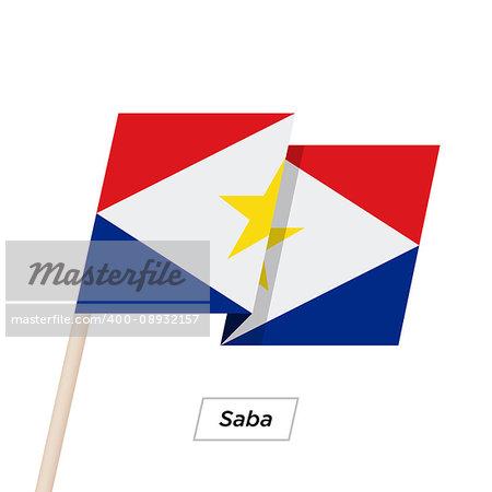 Saba Ribbon Waving Flag Isolated on White. Vector Illustration. Saba Flag with Sharp Corners